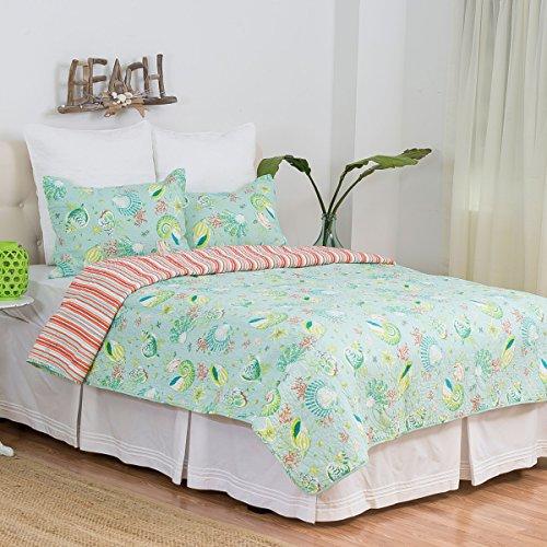 C&F Home Laguna Breeze 3 Piece Quilt Set All-Season Reversible Bedspread Oversized Bedding Coverlet, Full/Queen Size, Blue - Laguna Comforter Set