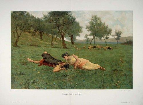 1895-shepherd-sheep-fruhlings-idyll-forti-engraving-original-print