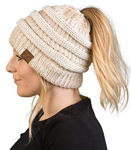 Bun Womens Winter Knit Hat Beanie Tail - Ivory/Gold ()