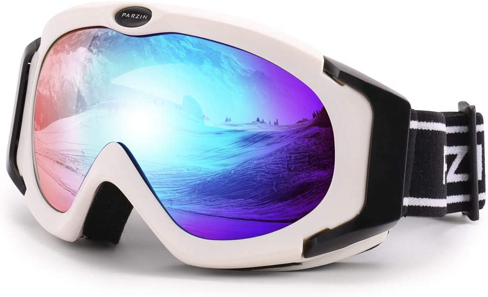 PARZIN Ski Goggles for Women Men, Over Glasses Snowmobile and Snowboard Polarized Eyewear, 100% UV Protection PZ617