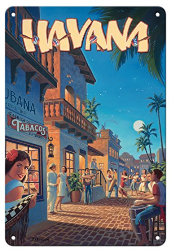 Pacifica Island Art 8in x 12in Vintage Tin Sign - Havana, Cuba by Kerne Erickson]()