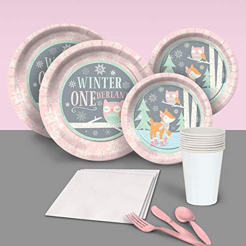 Pink First 1st Birthday Winter One-derland Party Pack for 8 Party Supplies Decorations Plates Napkins Cups Tableware