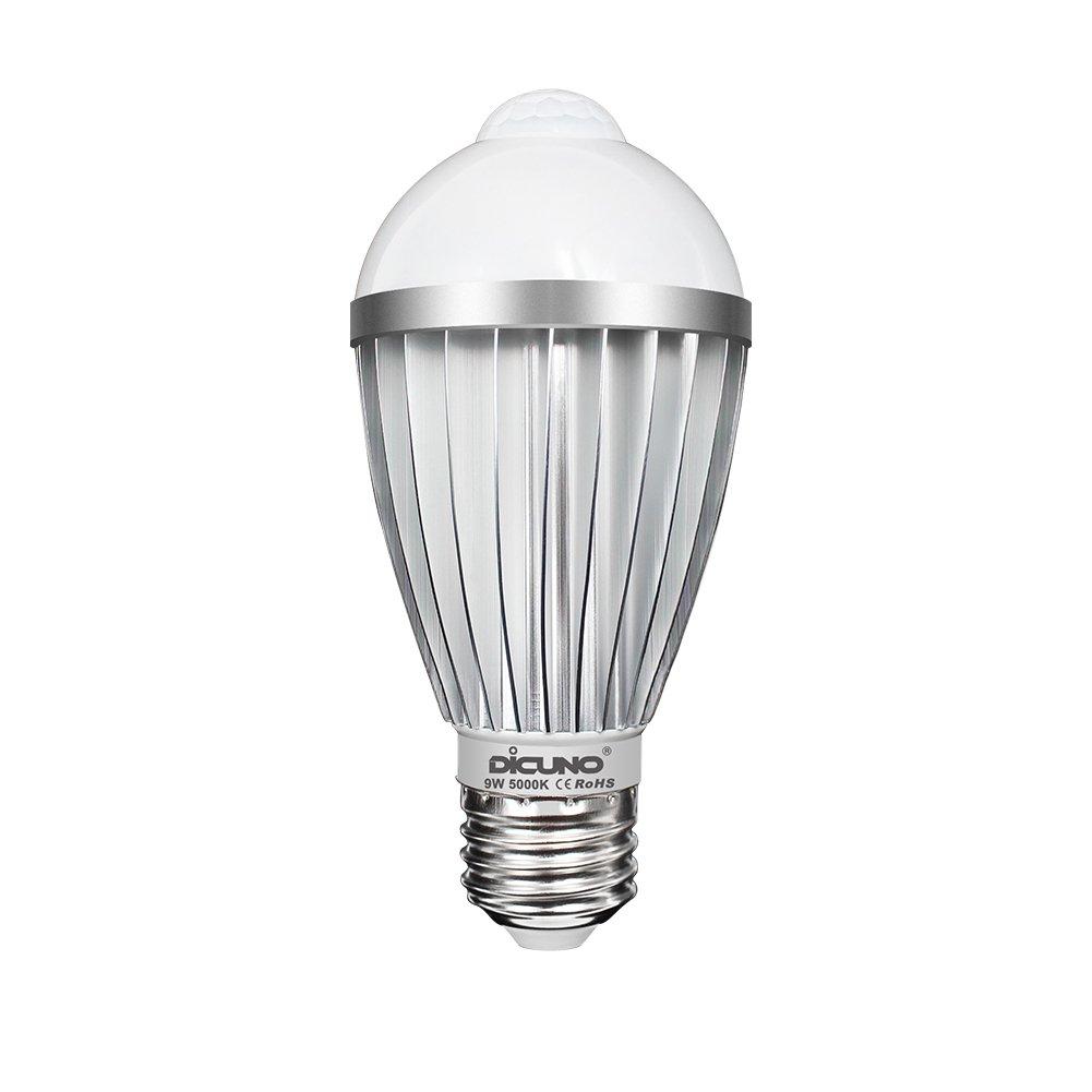 DiCUNO LED電球 人感センサー付き 明暗センサー搭載 自動点灯/消灯 センサーライト E26/E27口金 9W 700lm 60W形相当 昼白色 明るい 室内 赤外線センサー