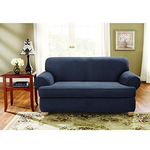 Phenomenal Amazon Com Surefit Stretch Suede Loveseat Storm Blue Unemploymentrelief Wooden Chair Designs For Living Room Unemploymentrelieforg