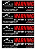 4 Pc Bright Unique Warning GPS Tracking Security System Technology This Vehicle Equipped Real Time Inside Adhesive Sticker Sign Surveillance CCTV Video Reflective Under Cameras Protect Size 4.5'x1.5'
