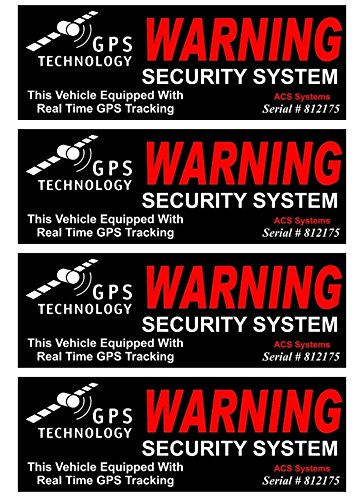 4 Pc Bright Unique Warning GPS Tracking Security System Technology This Vehicle Equipped Real Time Inside Adhesive Sticker Sign Surveillance CCTV Video Reflective Under Cameras Protect Size 4.5x1.5