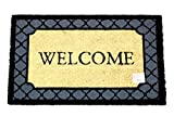 Home Garden Hardware 36526 Welcome Blue Border 18x30 Coir Doormat,Natural,Small
