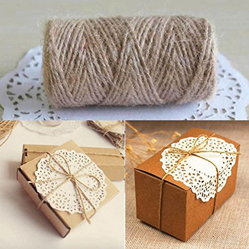 Durable Hemp Rope DIY 33M Hemp Rope Pastoral Style Cord for Wedding Favors Candy Boxes DIY Décor -Pier 27