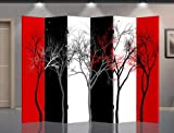 Asian Home Double Sided Canvas Screen Room Divider - Abstract Trees