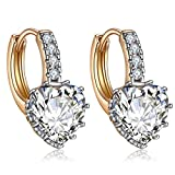 Forcolor Drop Gold Plated Earrings with clear love heart Cubic Zirconia gemstone