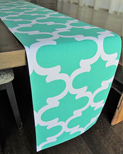 Trellis Patterned Table Runner Turquoise