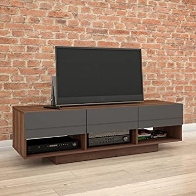 Nexera 105142 Radar TV Stand, 60-inch, Walnut & Charcoal - 3 storage drawers on metal slides 3 open spaces for electronic components Easy wire access and optimal air flow - tv-stands, living-room-furniture, living-room - 51sZj%2BMTiML. SS400  -