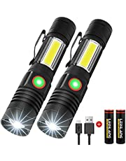 Craebuer LED Zoomable Tactical Flashlights, 2 Pack USB Rechargeable Magnetic Emergency Torch, 4 Modes Super Bright High Lumen COB Lights(18650 Battery Include) for Camping and Hiking
