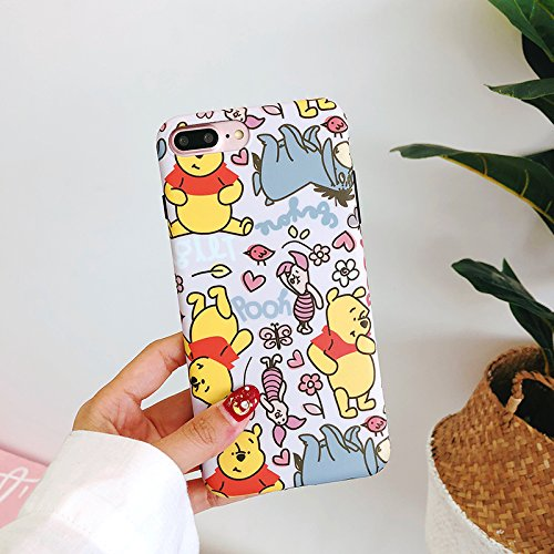 Ultra Slim Soft TPU Yellow Winnie the Pooh Bear Pink Piglet Case for iPhone 7Plus 8Plus 7+ 8+ Shockproof Comforatble Smooth Disney Cartoon Cute Lovely Stylish Cool Girls Women Teens Kids