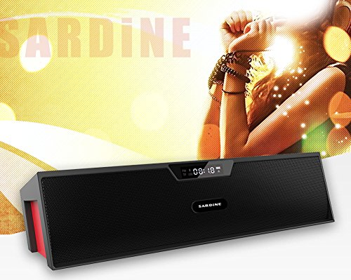 Sardine Bluetooth Speakers with FM Radio, Alarm Clock, Built-in Mic, LED Display, Powerful Sound Bluetooth Speaker for Apple iPhone, iPad, Samsung GALAXY Series, Micro SD Card & USB Input (Black&Red)