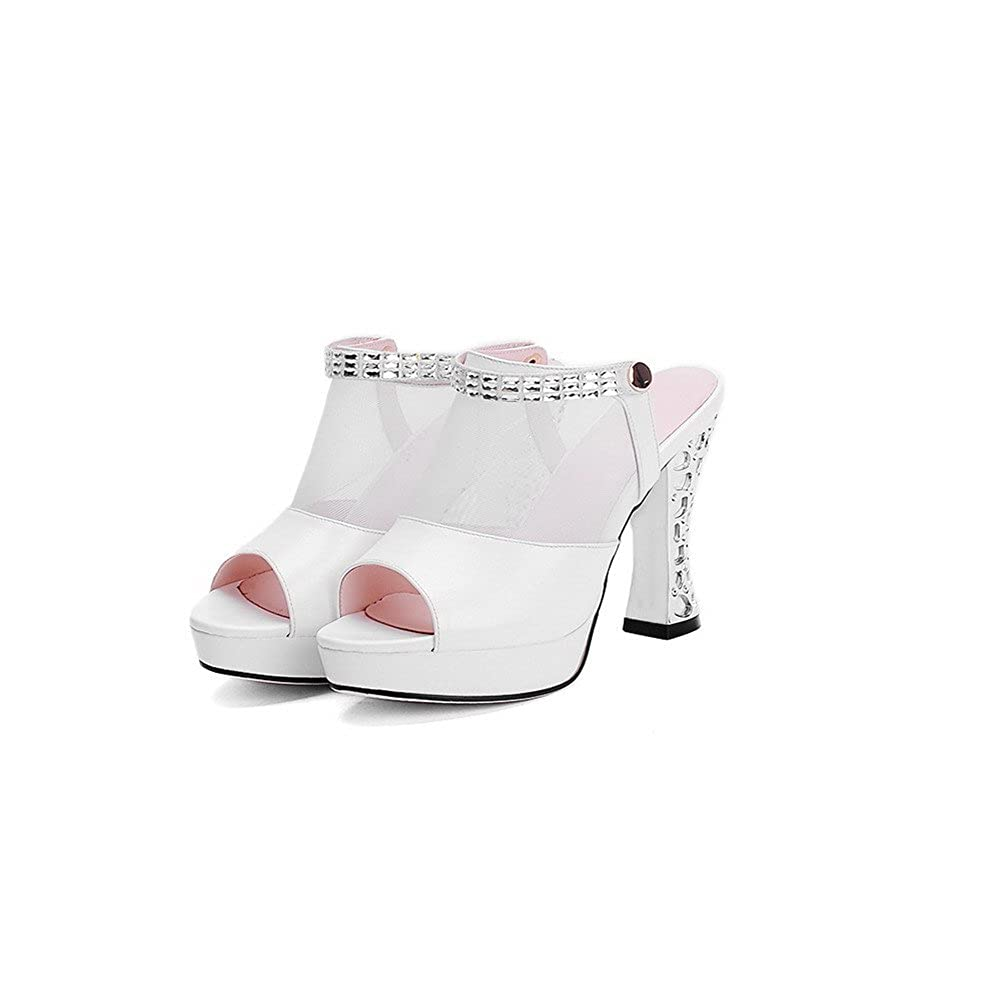 AalarDom Womens Pull On High Heels Pu Solid Open Toe Slippers