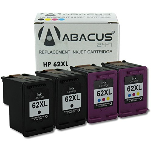 Abacus24-7 Remanufactured HP 62 XL Black and Color Ink Ca...