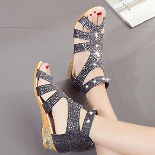 Cinnamou Calzado Imitación Negro Mujer Romano Tacones Boca De Palno Sandalias Huecas Pez Dama Diamantes Zapatos vqrUAv