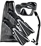 Mares Volo Power Fin Mask Snorkel Scuba Diving Gear Set, Black/Silver, Regular, (9-11)