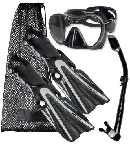 Mares Volo Potencia aleta máscara buceo Gear Set, Negro/Plata, pequeño, (6–9)