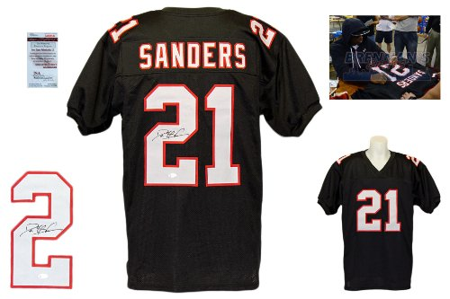 Deion Sanders Signed Custom Jersey - JSA Witnessed - Autographed w/ Photo - Black -