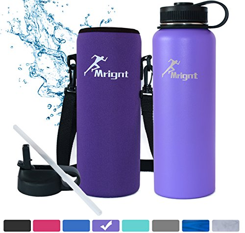 Stainless Steel Vacuum Insulated 40/32 OZ Sports Water Bottle|Best Water Bottle for Men&Women|BUY ONE GET THREE FREE GIFTS-A Straw Lid& A Bottle Pouch & A Bottle Brush-Purple 40