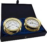 Master-Mariner Windlass Gift Set Clock & Comfort Meter, Gold finish, Ivory ship dial