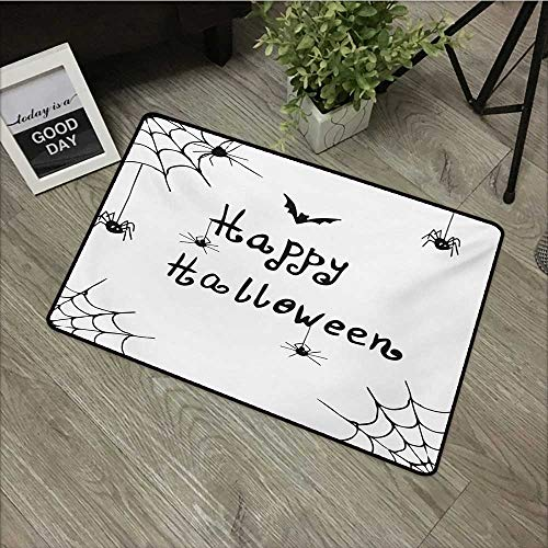 Printed Door mat W24 x L35 INCH Spider Web,Happy Halloween Celebration Monochrome Hand Drawn Style Creepy Doodle Artwork,Black White Non-Slip Door Mat -