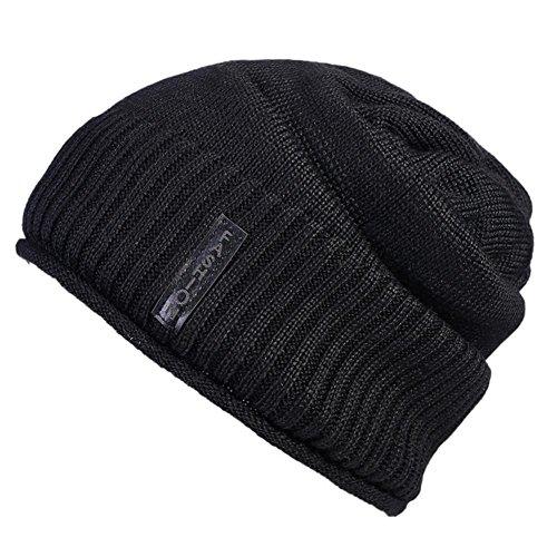 beige Gorros suave tejidas Beanie forro tejido Moda Unisex de Hat Black 3 Cap polar patrón paquete con forro 5xawvqfw