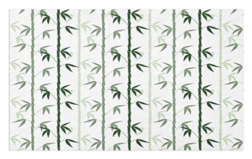 Lunarable Bamboo Doormat, Asian Forest Inspired Pattern Feng Shui Theme Zen Spa Nature Design, Decorative Polyester Floor Mat with Non-Skid Backing, 30 W X 18 L inches, Dark Green Pale Green White