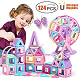 ACTRINIC 124 PCS STEM Magnetic Toys Educational Stacking Toy with Castle Cards Globe Kids Games Toys with Portable Storage Box for 3 4 5 6 7 8 Year Old Best Gifts for Boys And Girls