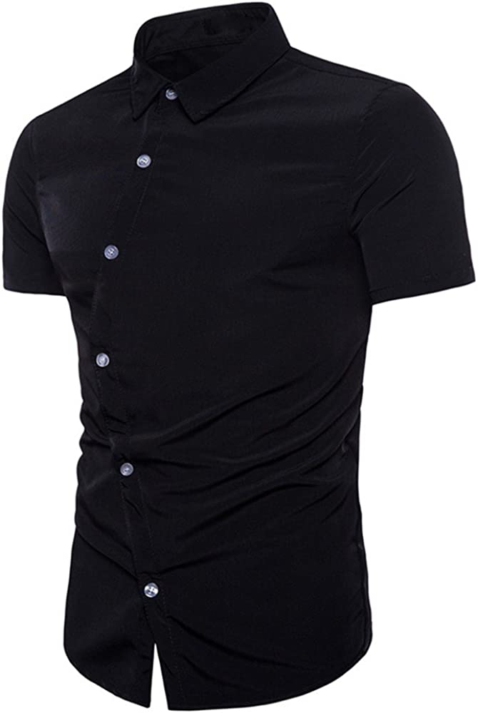 Hellosay Mens Short Sleeve Irregular Breasted Slim Fit Solid Shirts