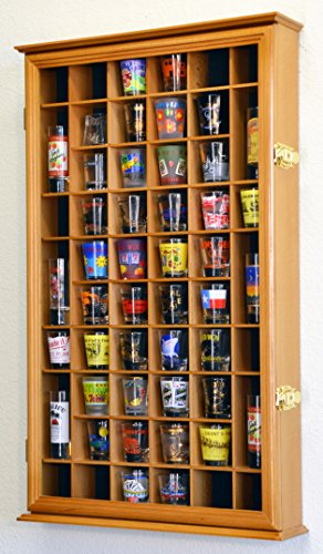 54 Shot Glass Shooter Display Case Holder Cabinet Wall Rack w/ UV Protection -Oak