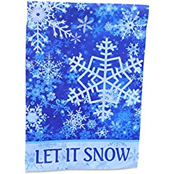 Winter Wonderland Falling Snowflake Garden Flag Yard Decoration; true double sided Let It Snow message readable both sides; 12 inches by 18 inches