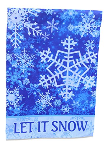 Winter Snowflake Snow (Winter Wonderland Falling Snowflake Garden Flag Yard Decoration; true double sided Let It Snow message readable both sides; 12 inches by 18 inches)