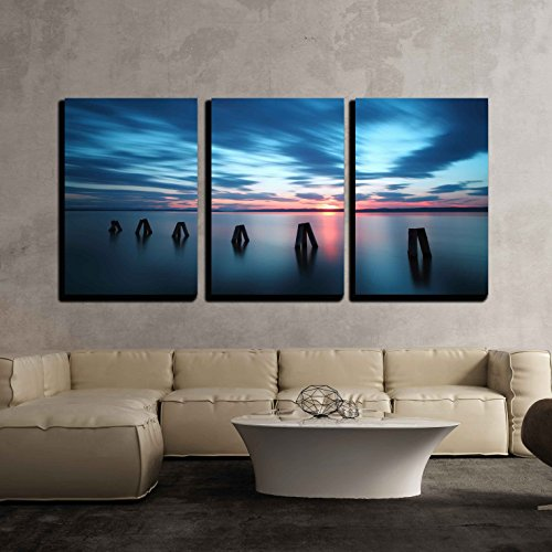 Wall26   3 Piece Canvas Wall Art   Ocean Sunset   Modern Home Decor Stretched And Framed Ready To Hang   16 X24 X3 Panels