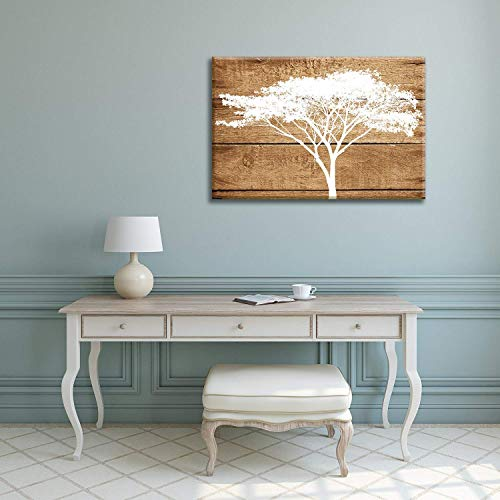 12' Acacia Wood - Decor Love Canvas Prints Wall Art Oil Painting, Artistic Abstract Acacia Tree on Vintage Wood Background Stretched and Framed for Living Room 12'' by 24''