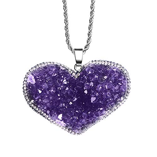 iSTONE Natural Gemstone Heart Shape Amethyst Cluster Healing Crystals Chakra Stones Stainless Steel Chain 24 Inch