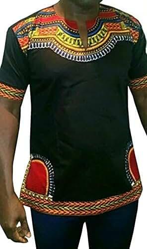 Huiyuzhi Men's African Dashiki Long Sleeve Print Tops