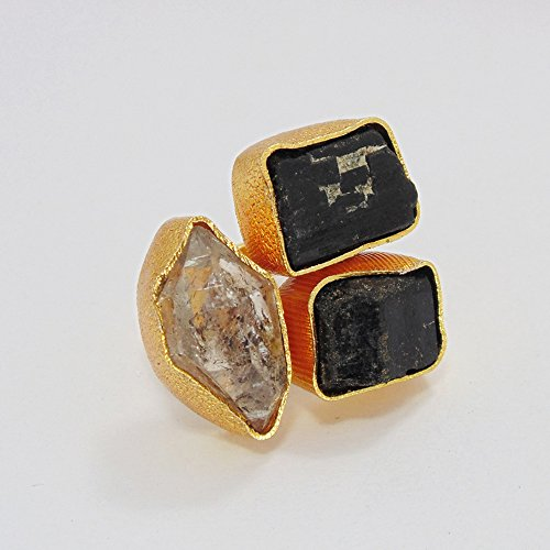 Raw Herkimer Diamond And Black Tourmaline Gemstone Cocktail Ring For Unique Wedding Gift ()
