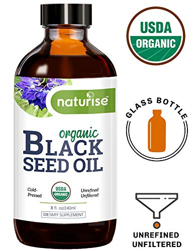 Naturise Organic Black Seed Oil (Nigella Sativa, Cumin Seed) Cold Pressed Non-GMO, 8 oz Glass Bottle Source of Essential Fatty Acids, Omega 3 6 9, Antioxidant for Immune Boost, Joints, Skin, Hair (Cumin Seeds For Weight Loss Side Effects)