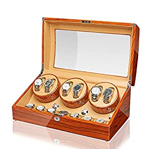 JQUEEN Automatic Watch Winder Luxury Storage Case 6+7