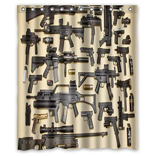 Custom Firearms Guns Shower Curtain Stylish Waterproof Polyester Fabric Bathroom Deco Custom Firearms