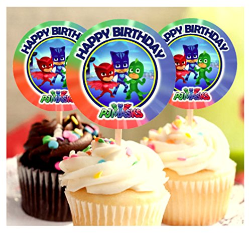 12-Happy-Birthday-PJ-MASKS-Inspired-Party-Picks-Cupcake-Picks-CupcakeToppers