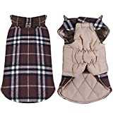 TPYQdirect Dog Jacket Waterproof Windproof Reversible Pet Coat British Style Plaid Dog Vest Winter Coats Warm Dog Apparel Cold Weather Dog Jackets Sweater for Small Medium Large dogs, Brown M