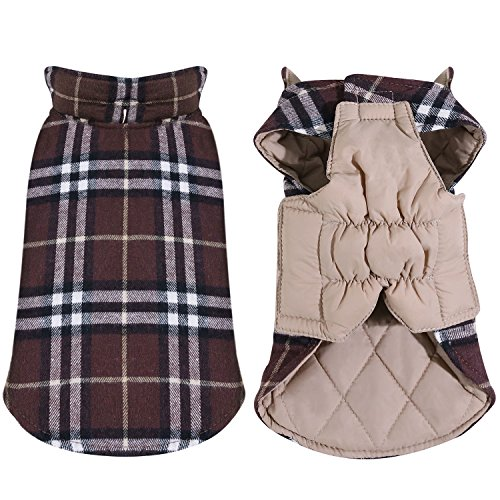 TPYQdirect Windproof British Plaid Dog Vest Winter Coat - Dog Apparel Cold Weather Dogs Jacket for Puppy Small Medium Large dogs by TPYQdirect