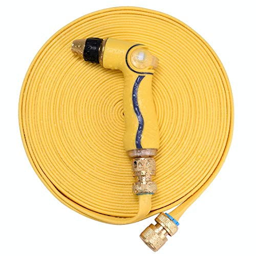 "(50ft Garden Hose with Spray Nozzle, Solid Brass Fittings - 3/4"" Connector, Special Quick Disconnect Fittings(Non-Standard), Faucet Adapter and Rubber Washers Included (Yellow))"