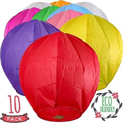SKY HIGH Colorful Chinese Lanterns - Biodegradable Paper Lanterns Multicolor Assortment for Birthdays, Parties, New Years, Memorial Ceremonies, and More – 10 Pack