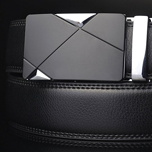 Banana Republic Black Linen (Luxury Men's Genuine Leather Automatic Buckle Belts Waist Strap Belt Waistband, 100% Brand new and high quality)