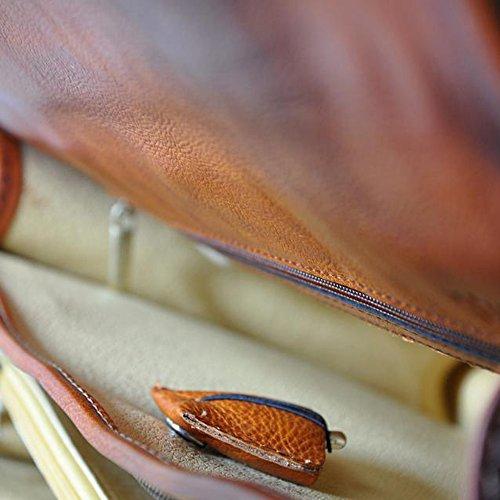 Pratesi Lecco luxuriösen italienischen Leder Klappe über Aktentasche - Tan braun